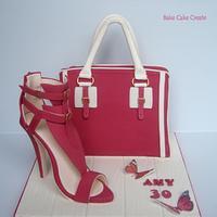 Handbag cake & sugar shoe