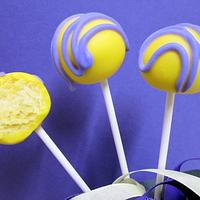 Purple and Yellow Cake Pops