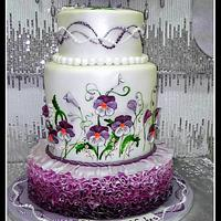 Cake with pansies