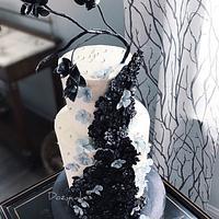 Black and White Shower Cake