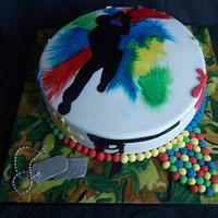 Paintballing inspired cake