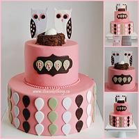 Adorable Baby Shower Owl Themed Cake