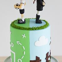 A cake about soccer and horses