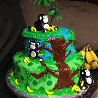 Monkey Jungle Cake by christiskonfections