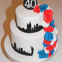 New York Skyline and Roses Cake
