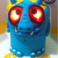 Blue Monster with shining eyes