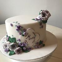 Floral cake for a 70th birthday