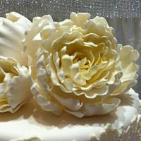 Wedding cake pearls and peonies by Dell Khalil