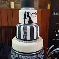 Black & white silhouette wedding cake
