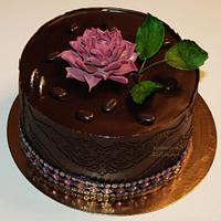 chocolate cake with small suculent