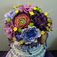 Purple and white wedding cake by liesel