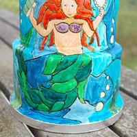 Mermaid stained glass cake