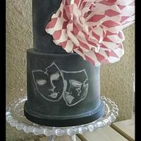 Harlequin chalkboard cake