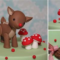 Woodland Themed Rudolph Cake