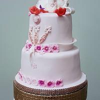 Babyshower cake posh stork