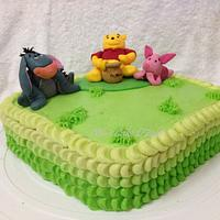 Green ombre cake with pooh & friends