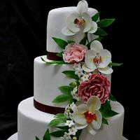 Wedding cake peonies and orchids