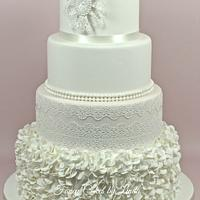 Camilla - Ruffles, Pearls and Lace Wedding Cake