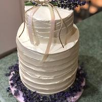 Buttercream with fresh lavender wedding