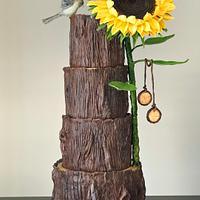 .Tree Stump Cake with Sunflower!.....