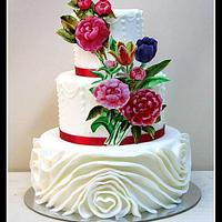 Cake with hand painted flowers