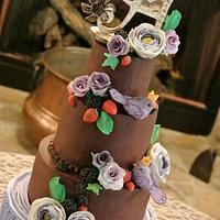 chocolate and lavender wedding cake