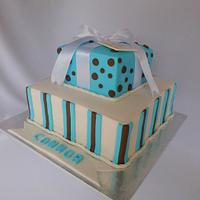 Christening Cake with Stripes and Dots