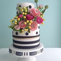 Black and White Polka Dot and Stripe Cake With Sugar Ranunculus