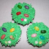 Easter Cupcakes - Grass Themed