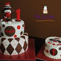 Sock Monkey 1st Birthday Two Tier with Smash Cake