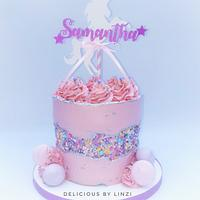 Pretty pink fault line cake