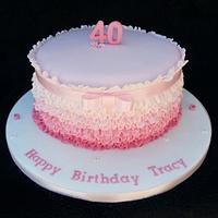 Pink ribbon and frills birthday cake.