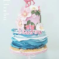 Summer flamingo birthday cake