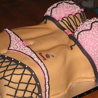 Bachelor Party Cake Female Body with cool designs and custom tattoo by Kristen