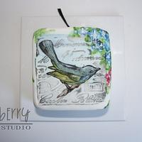 Painted Christmas Cake - Fantail