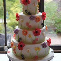 Summertime Flowers Wedding Cake.