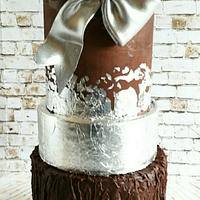 Chocolate an leaf silver wedding cake