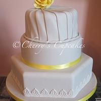 Grey & Lemon Pleated Wedding Cake