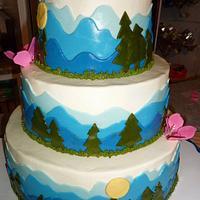Mountain Wedding Cake by GrandmaTilliesBakery