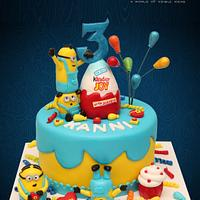 Minions Themed Cake With a Kinder Joy Surprise