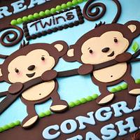 Twin Monkeys Baby Shower