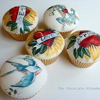 Vintage Valentines Tattoo Cupcakes