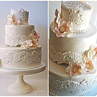 Vintage Lace Applique with Open Blooms by lorieleann