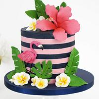 Tropical Flamingo Cake Tutorial with Buttercream Stripes