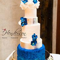 Royal blue luxe wedding cake