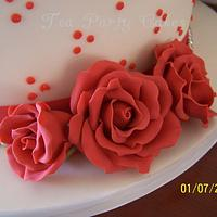 Coral Roses by Tea Party Cakes