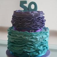 50th Birthday Ruffle Cake