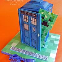 Tardis/ Minecraft cake