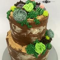 Buttecream terrarium cake