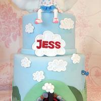 Thomas the Tank Engine cake with a sculpted cloud..